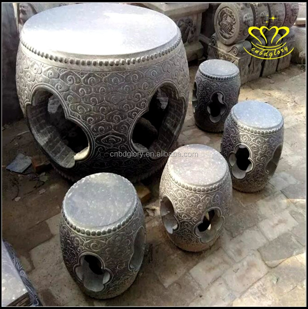 Custom made a variety of styles Chinese style natural marble antique building courtyard round drum table stool