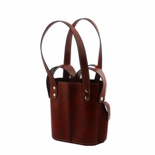 Portable length handle tow bottle leather wine bags