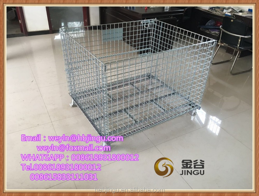 Custom Made Stackable Storage Cage Metal Folded Wire Mesh Container