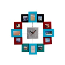 Fancy home decor square metal wall clock with muti photo frame
