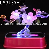 valentine's gift with LED changing color /glass art and craft
