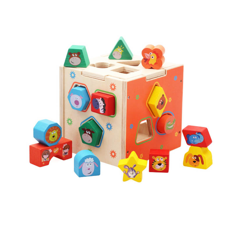 Eco-friendly Baby Educational Wooden Toys Colorful Geometry Animal Cartoon Assembled Box Toy