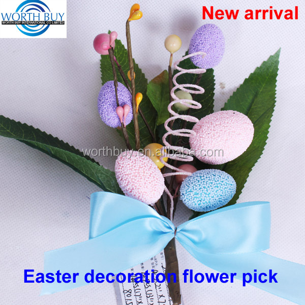 Easter egg & bow decorated artificial decorative floral pick for easter decoration