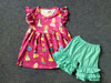 girls boutique clothing sets rose flower baby girl clothes summer kids boutique clothing