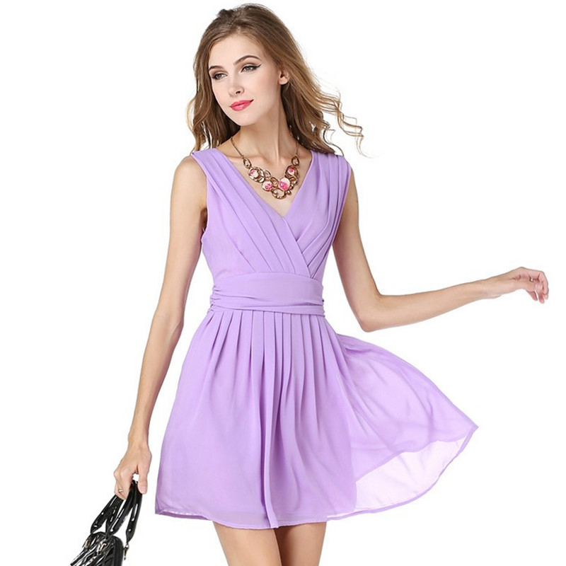 Summer apparel simple frock chiffon purple mini V-neck dresses backless women indian beautiful girls in sexy dress