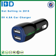 2015 IBD colorful 2 in 1 cigarette style micro dual usb car charger 5v 2.4a fast charging for iphone 6 plus