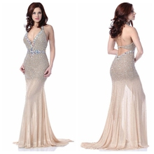halter neck tulle beading real sample new evening dress patterns