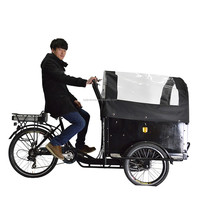 CE bakfiets front loading three wheel food delivery trike cargo bike with roof