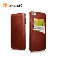 ICARER Real Leather Wallet Card Slots Case for iPhone6 Plus/6S Plus, Real Folio Case for iPhone6 Plus/6S Plus