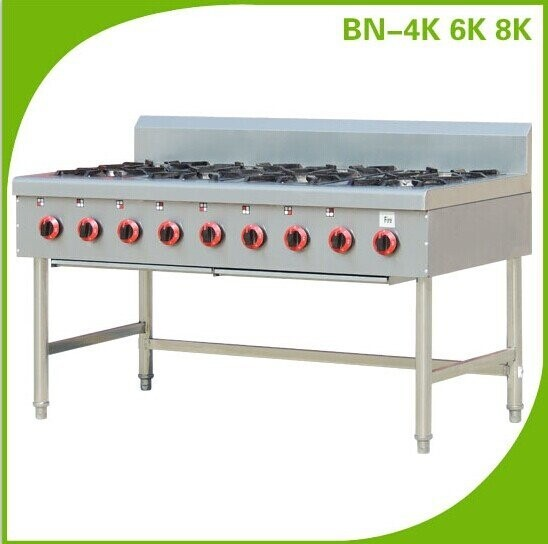 Chinese Restaurant Kitchen Equipment hotel catering equipment gas range with 4 burners 6 burners 8