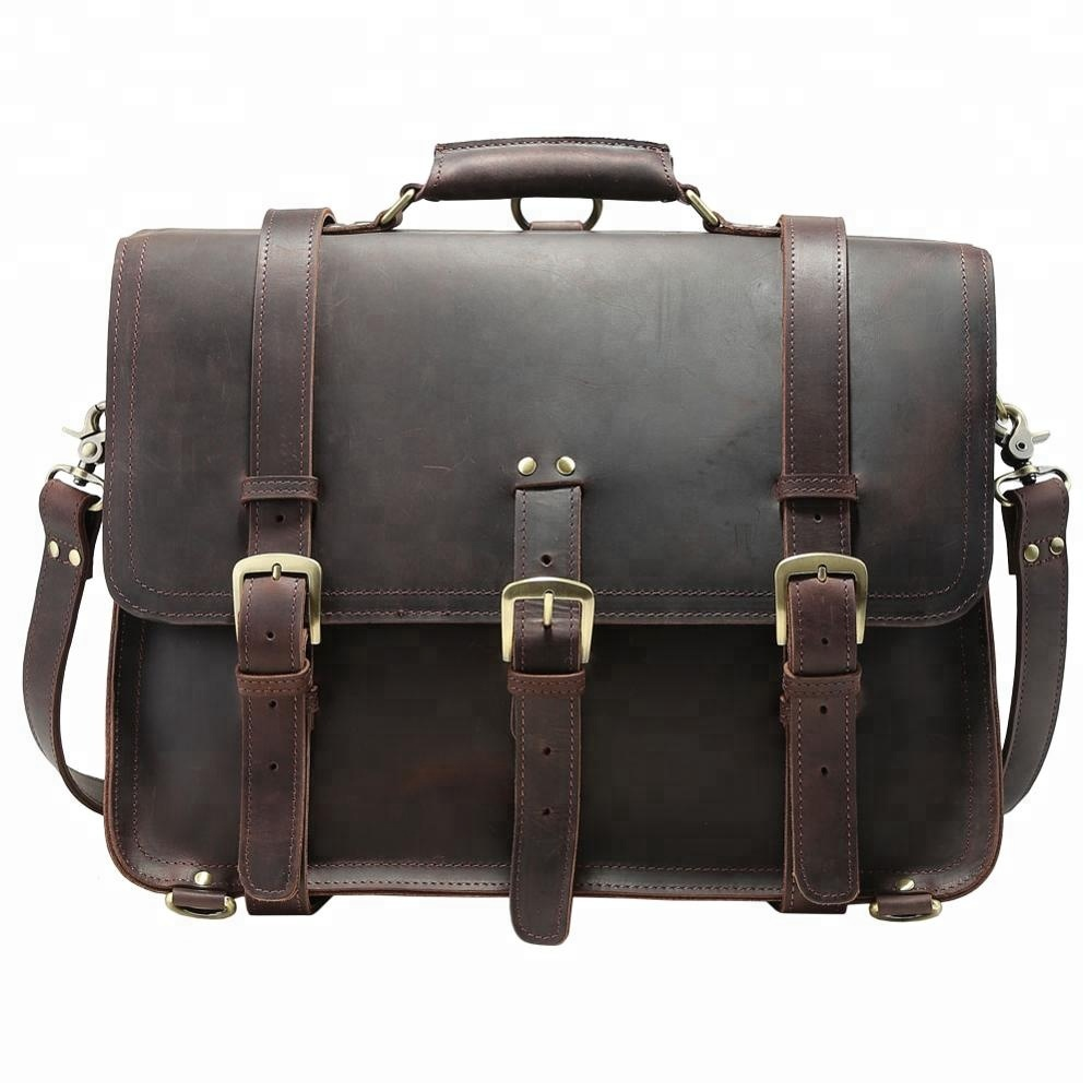 Tiding Handmade Vintage Style Genuine Leather Men's Laptop Briefcase Handbag Messenger Bag For Business Men 17 inch Laptop Bag