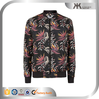 new design fashion bomber jacket,high quality man black floral print varsity jacket
