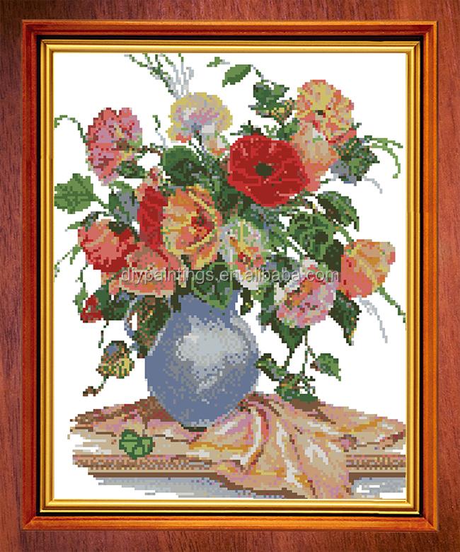 con marco diy de la flor en el florero de arte de la pared y la
