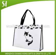 2015 fashion lamination white non woven bag with pet cat dots for promotion carrier bag