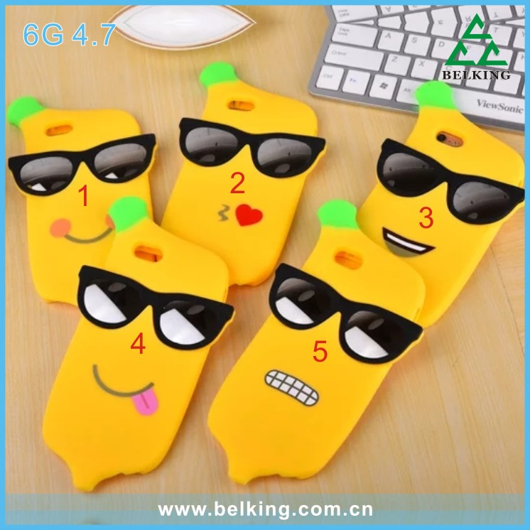 Factory OEM Promotion Gift Cool Banana Style Phone Case 3D Silicone Phone Case for iphone 6s