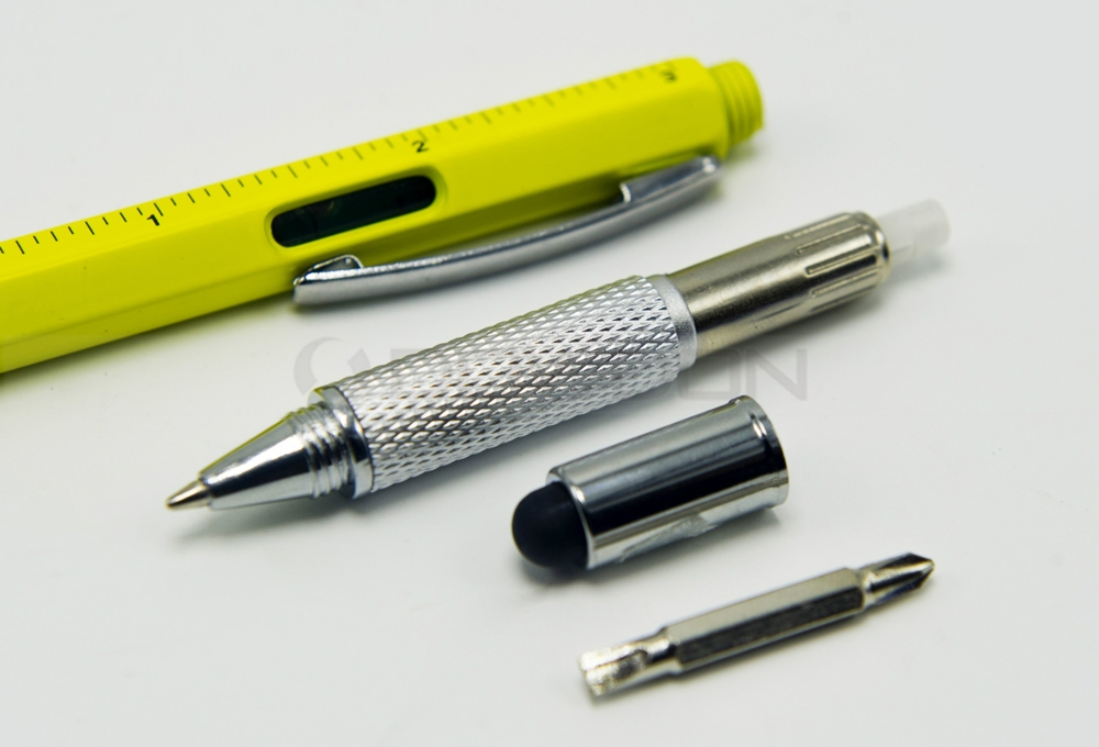 Tool Ballpoint Pen Screwdriver Ruler Spirit Level with a Top and Scale Multifunction 6 in 1 Tool Pen