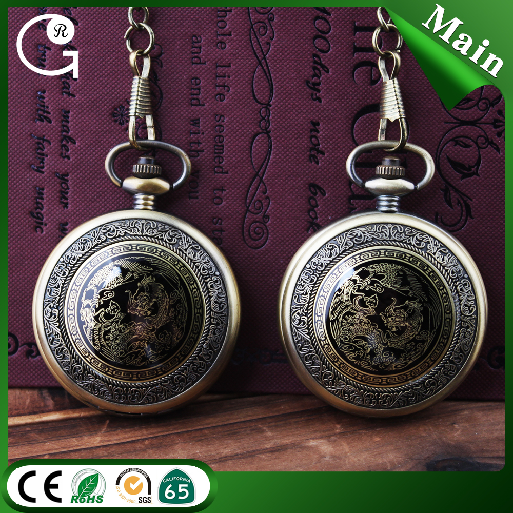 D01435o High quality mechanical pocket watches skeleton pocket watch with charming dragon pattern alloy case