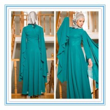 Ankle length chiffon long sleeve green muslim evening dress evening gown (MUSL-1007)