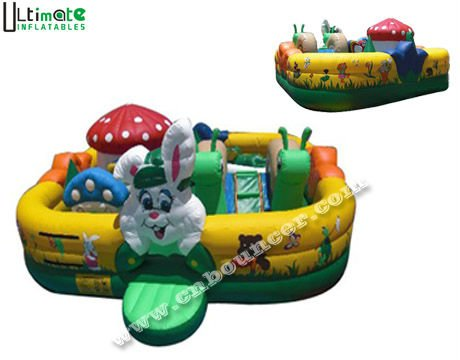 Hot sale rabbit and mushroom giant inflatable amusement park for kids made of 1st class lead free material