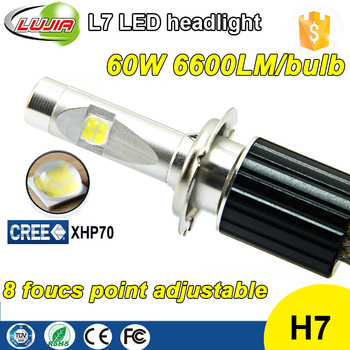 Super Bright All-in-One 60W 6600lm L7 Crees XHP70 H7 LED Car Headlight Bulbs H7 PX26D LED Head Light Conversion Kit