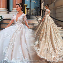 Vestido De Noiva Designer Luxury Full Pearls Wedding Dress Long Sleeves Lace Ball Gown Puffy 2017 Wedding Dress MW2181
