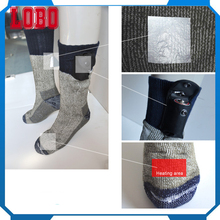 New custom women warm fuzzy heating compression winter skiing thermal electrical battery heated socks