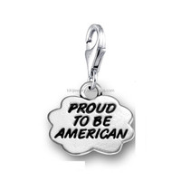 Personalized Antique Silver Cloud Shaped Proud to be American Message Charms Jewelry With Lobster Clasp
