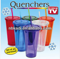 double wall plastic tumblers with straw 16oz (SCB08)