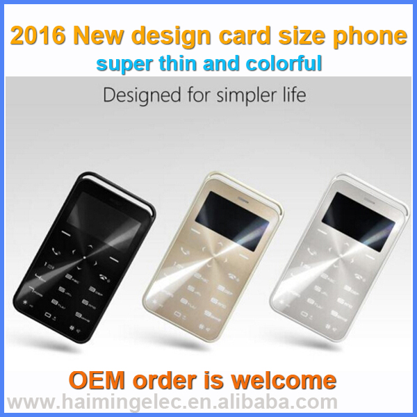 2016 NEW items 1.69 inch card size phone FM BLUETOOTH mp3 FUNCTION model GS6