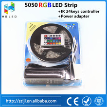 5M 10M 15M 20M DC12V 60LEDs/M LED Strip RGB 5050 SMD Light Outdoor Strips Lighting + 24 Keys IR Remote Controller +12V 5A Power