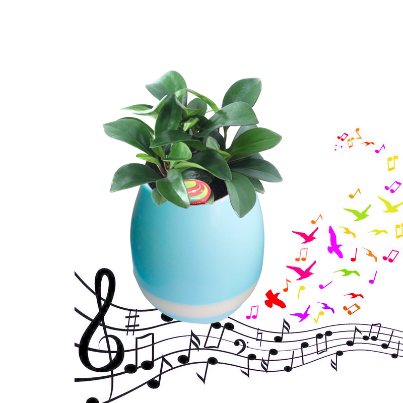 2017 HOT new gift bluetooth speaker plastic music flowerpot smart music player with colorful lights