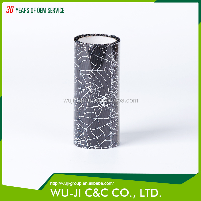 100% polyester black with silver spider web foil color tulle