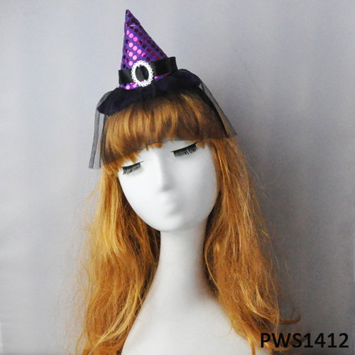 Halloween purple sequin witch hat headband
