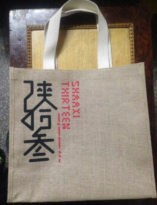 Standard size natural eco jute bag screen printed burlap jute shopping bag hessian linen jute tote bag with rope handle