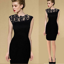 W71885G 2016 fashion black lace sexy night dress for women dress
