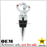 gift giveaway heart custom cheap metal wine stopper wedding souvenirs