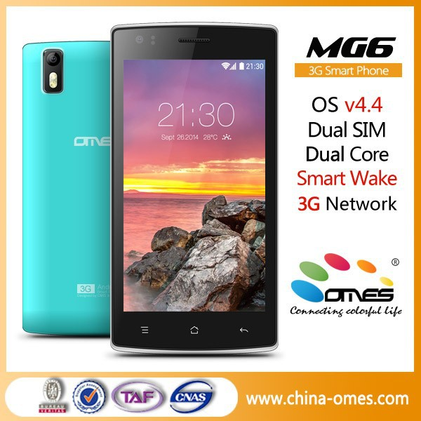 "Double Tap Wake Up Screen OMES MG6 5"" Dual Core Quad Core 3G Android 4.4 Kitkat 5 inch screen cellphone"