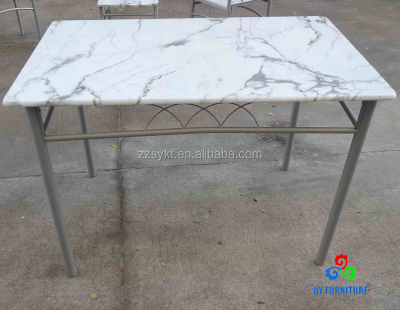 Faux marble grain MDF dining table wooden banquet tables wholesale
