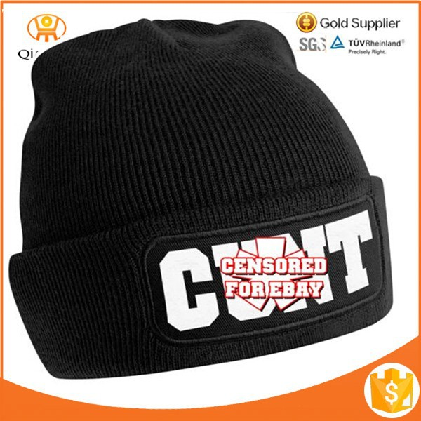 Top quality printing patch Knit Winter Hat men/toques/custom toques
