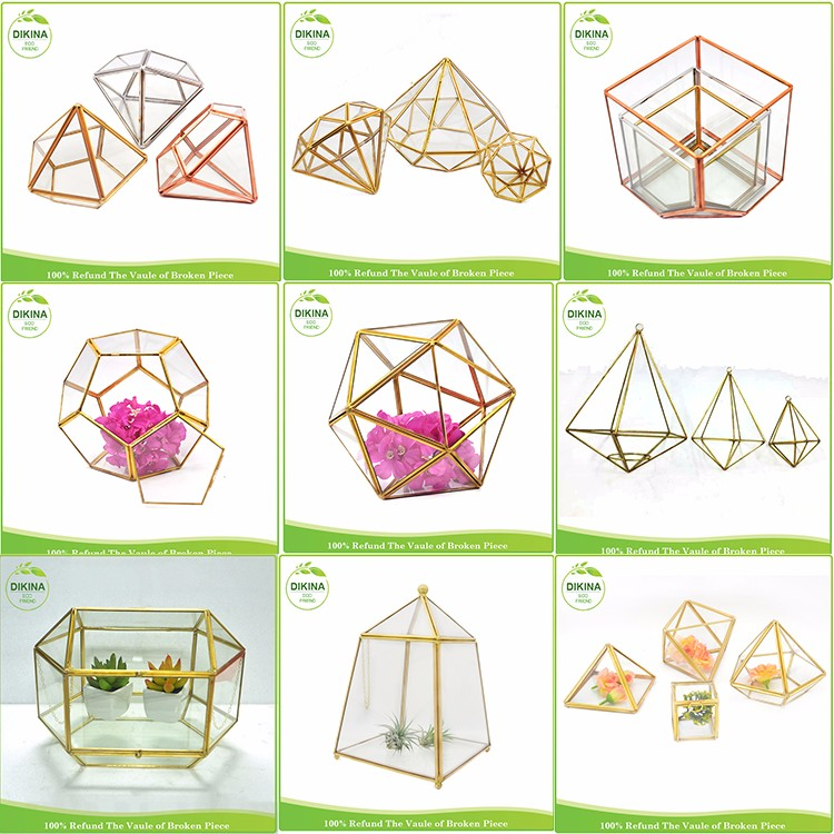 Top Sales! house, ball, Octagonal shape (many shapes) hanging Vintage Hand Painted Miniature geometric clear flower vase glass