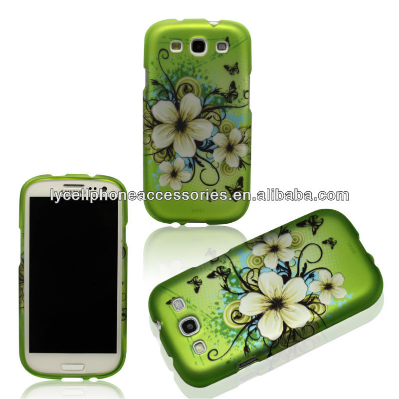 Hawaiian Green Flowers Hard Case Faceplate Protector Cover for Samsung Galaxy S3 i9300