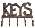 5 Hook Cast Iron Metal Key Rack Holder Rustic Country Antique Brown Home Decor