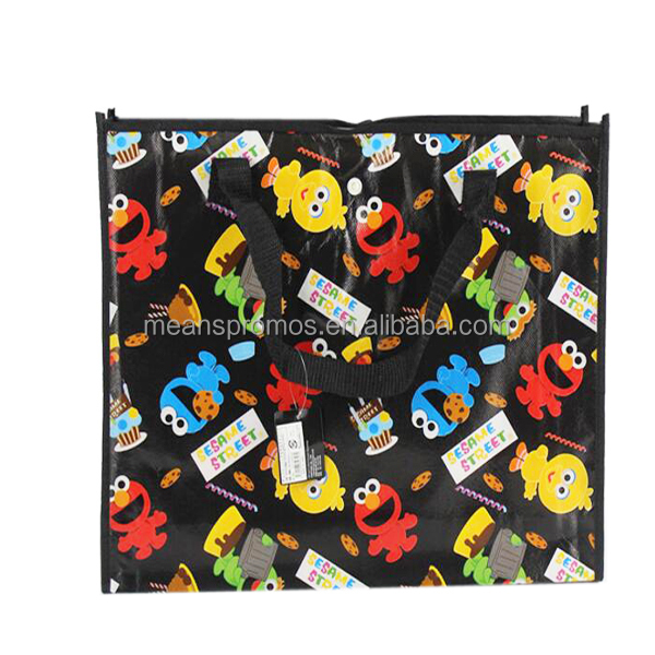 Factory cheap Custom cartoon animation image Four color bag Printing Laminated PP non woven carrier bags with snap button