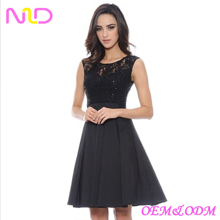 Women's Mixed-Media Fit & Flare Dress