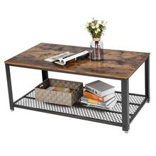 VASAGLE <strong>Furniture</strong> Wholesalers Living Room custom Rustic Wood Tea Table Metal Frame Wooden Top Coffee Table