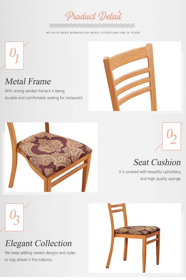 Wholesale hotel restaurant stacking aluminum frame antique dining chair for sale
