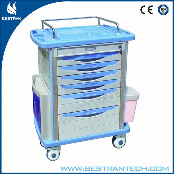 BT-MY001 Medical plastic medicine cart with wheels computer trolley design