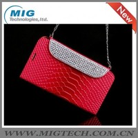 Made in china Diamond Bling handbag Wallet leather Case for apple iphone 5s, for iphone 5S case