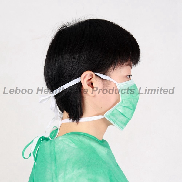 3-ply Disposable Earloop Face Masks Fluid Resistant Medical Masks Green
