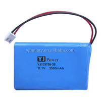lipo battery 11.1v YJ 103759-3S 2500mah rechargeable li polymer battery pack with tablet pc 4000mah battery